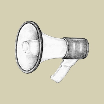 Illustration de mégaphone dessiné à la main