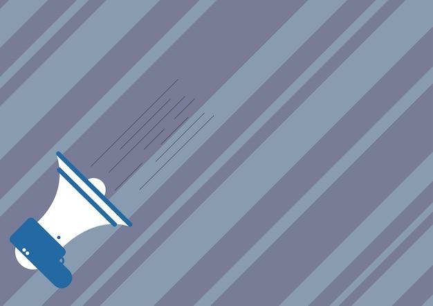 Illustration d'un mégaphone faisant une nouvelle annonce rapide. dessin bullhorn donnant un avis rapide important. croquis de haut-parleur à corne produisant une promotion rapide.