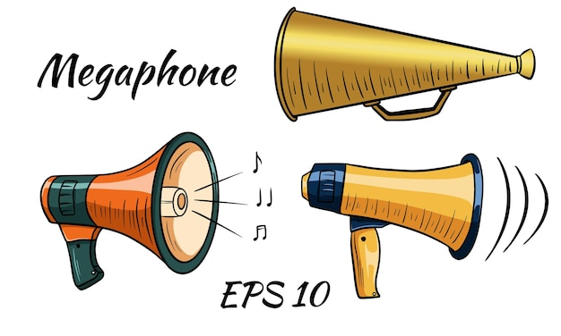Illustration d'un mégaphone, haut-parleur. style de bande dessinée. isolé sur fond blanc.