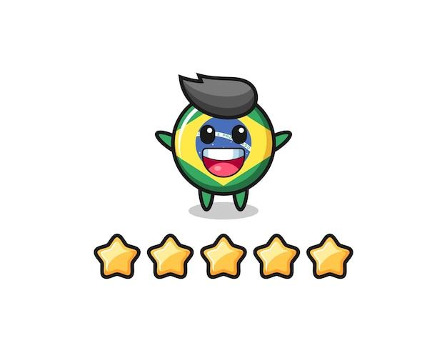L'illustration de la meilleure note du client, insigne du drapeau du brésil, personnage mignon avec 5 étoiles, design de style mignon pour t-shirt, autocollant, élément de logo