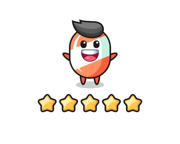 L'illustration de la meilleure note du client, personnage mignon de bonbons avec 5 étoiles, design de style mignon pour t-shirt, autocollant, élément de logo