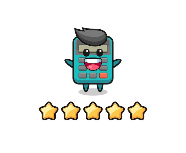 L'illustration de la meilleure note du client, personnage mignon de la calculatrice avec 5 étoiles, design de style mignon pour t-shirt, autocollant, élément de logo