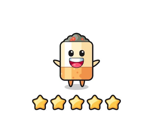 L'illustration de la meilleure note du client, personnage mignon de cigarette avec 5 étoiles, design mignon