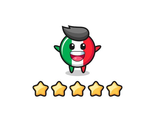 L'illustration de la meilleure note du client, personnage mignon du drapeau italien avec 5 étoiles, design de style mignon pour t-shirt, autocollant, élément de logo