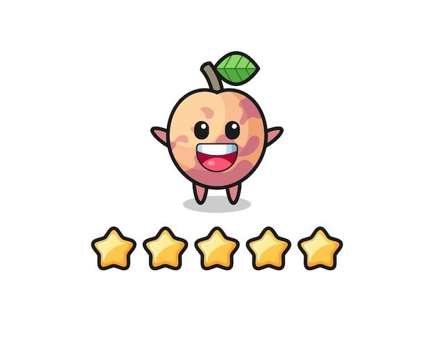 L'illustration de la meilleure note du client, personnage mignon de fruits pluot avec 5 étoiles, design de style mignon pour t-shirt, autocollant, élément de logo