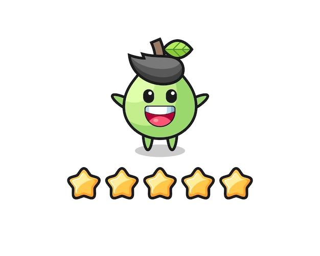 L'illustration de la meilleure note du client, personnage mignon de goyave avec 5 étoiles, design de style mignon pour t-shirt, autocollant, élément de logo