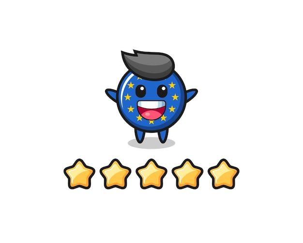 L'illustration de la meilleure note du client, personnage mignon d'insigne de drapeau européen avec 5 étoiles, design de style mignon pour t-shirt, autocollant, élément de logo