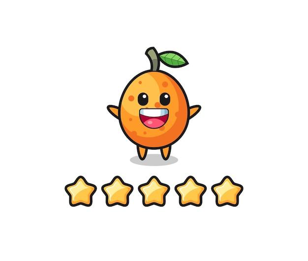 L'illustration de la meilleure note du client, personnage mignon kumquat avec 5 étoiles, design de style mignon pour t-shirt, autocollant, élément de logo