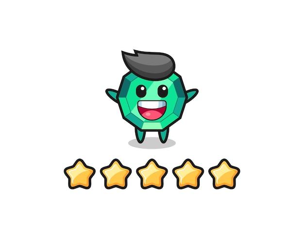 L'illustration de la meilleure note du client, personnage mignon de pierre précieuse émeraude avec 5 étoiles, design de style mignon pour t-shirt, autocollant, élément de logo