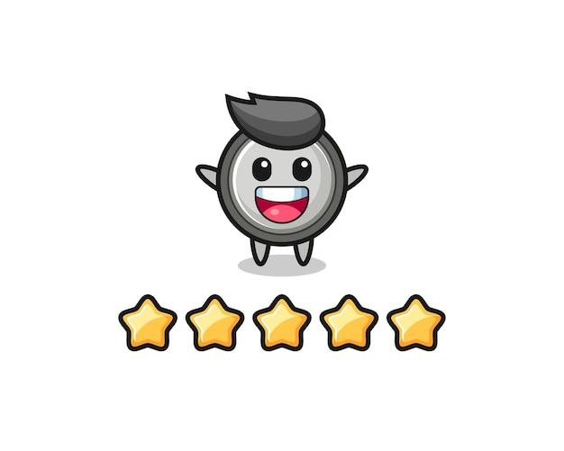 L'illustration de la meilleure note du client, personnage mignon de pile bouton avec 5 étoiles, design de style mignon pour t-shirt, autocollant, élément de logo
