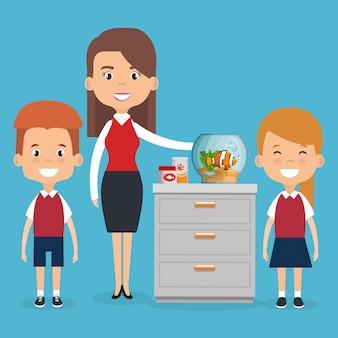 Illustration des membres de la famille avec des personnages