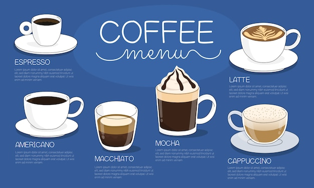Illustration de menu café avec différents types de boissons au café chaud sur fond bleu
