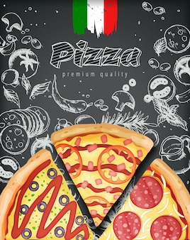 Illustration de menu de pizza italienne
