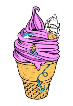 Illustration de la mer de crème glacée