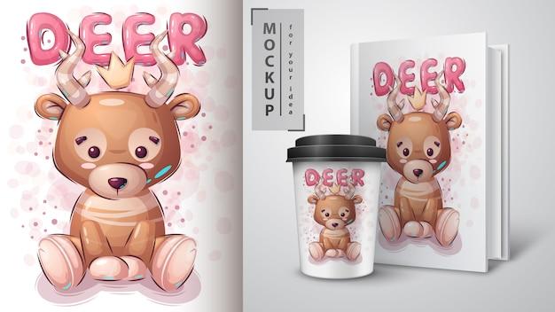 Illustration et merchandising de cerfs en peluche
