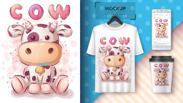 Illustration et merchandising de la jolie vache