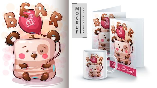 Illustration et merchandising d'ours en montgolfière
