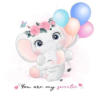 Illustration de mère et bébé éléphant mignon