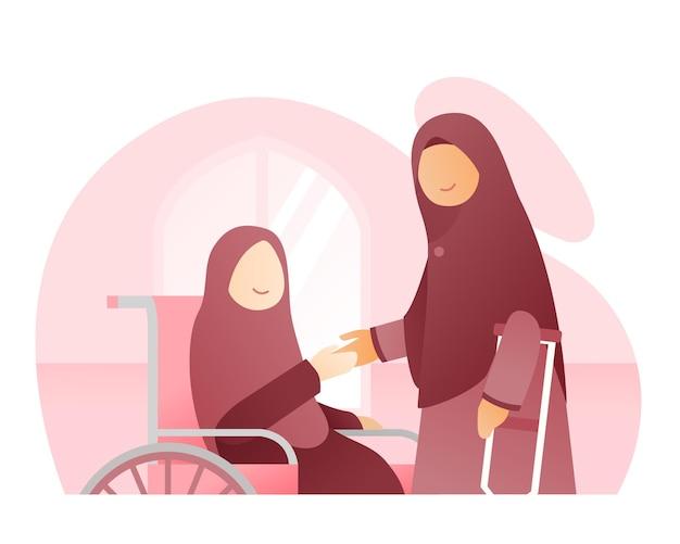 Illustration de la mère et de la fille de muslimah