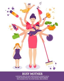 Illustration de mère occupée concept