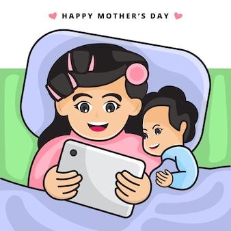 Illustration de la mère qui lit une histoire au coucher avec la tablette à son enfant. joyeuse fête des mères.