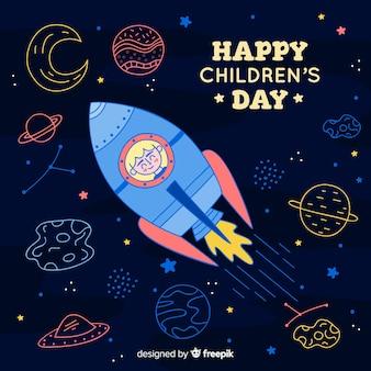 Illustration avec un message de fête des enfants