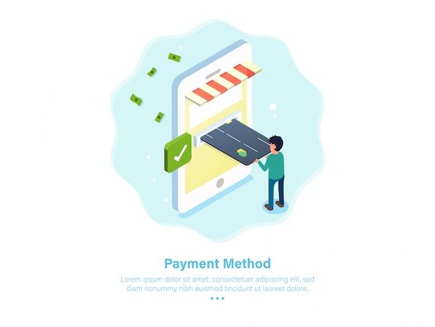 Illustration de méthode de paiement en ligne isométrique