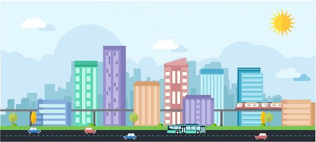 Illustration métropolitaine avec beaucoup de bâtiments et de nombreuses voitures