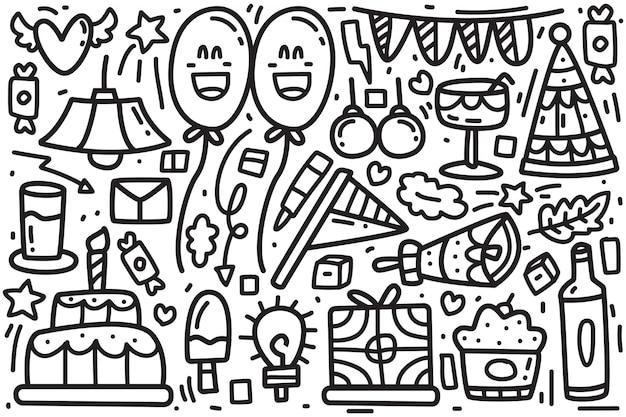 Illustration de mignon anniversaire doodle