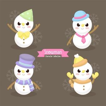 Illustration d'un mignon bonhomme de neige avec accessoires d'hiver, foulard, bonnet, gants illu