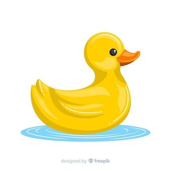 Illustration de mignon canard en caoutchouc jaune sur l'eau
