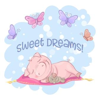 Illustration d'un mignon cochon de fleurs et de papillons. style de bande dessinée