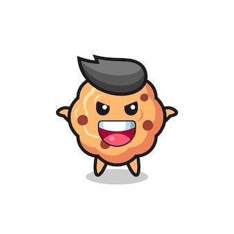 L'illustration d'un mignon cookie aux pépites de chocolat faisant un geste effrayant, un design de style mignon pour un t-shirt, un autocollant, un élément de logo