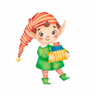 Illustration d'un mignon dessin animé santa helper elfe de noël garçon sur fond blanc