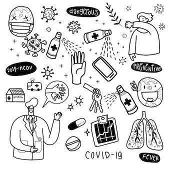 Illustration de mignon doodle pour virus corona covid-19, illustration dessinée à la main