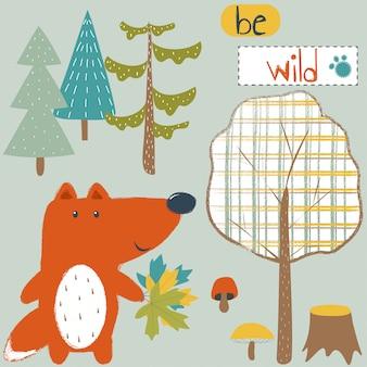 Illustration de mignon fox avec la faune