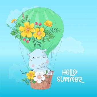 Illustration d'un mignon hippopotame dans un ballon.