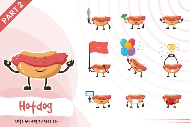 Illustration de mignon hot-dog pose ensemble.