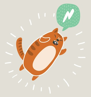Illustration de mignon kawai et drôle de chat rouge sautant.