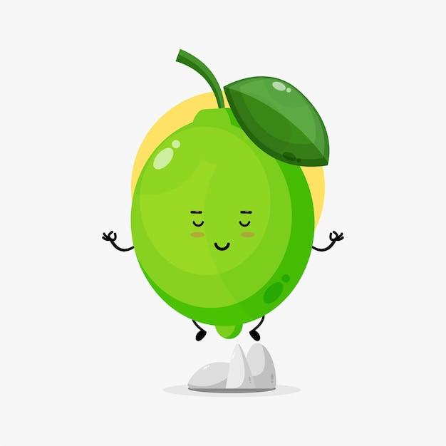 Illustration d'un mignon personnage de citron vert méditant
