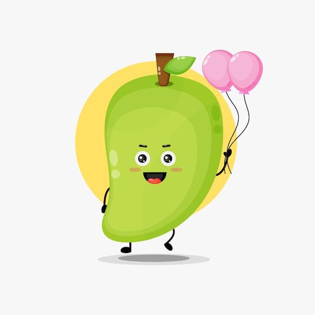 Illustration d'un mignon personnage de mangue portant un ballon