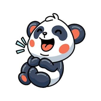 Illustration de mignon petit panda dessin animé en riant