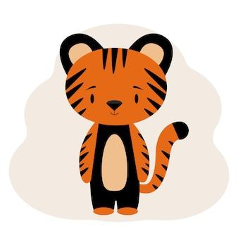 Illustration d'un mignon petit tigre à rayures. autocollant