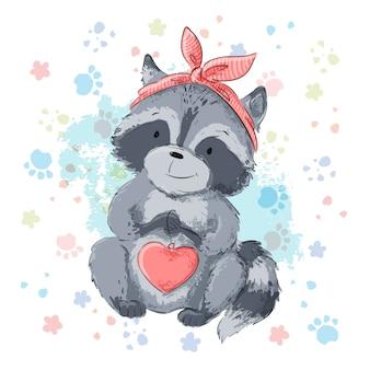 Illustration de mignon raton laveur avec coeur. vecteur de style dessin animé