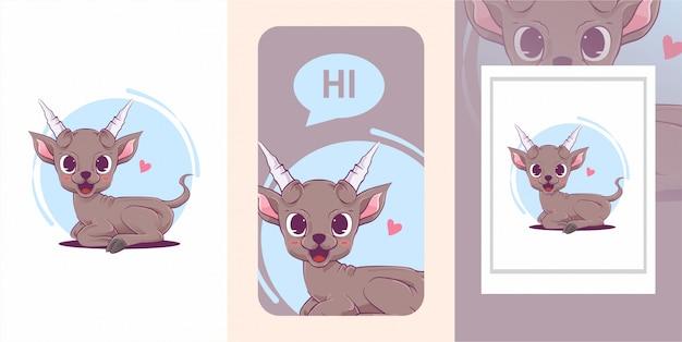 Illustration mignonne de bébé de chèvre