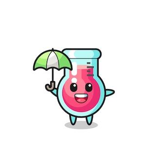 Illustration mignonne de bécher de laboratoire tenant un parapluie, conception de style mignon pour t-shirt, autocollant, élément de logo