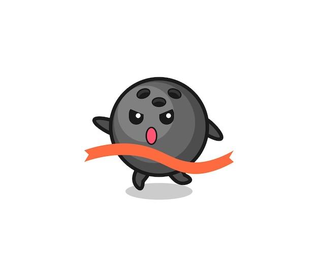 L'illustration mignonne de boule de bowling atteint la fin