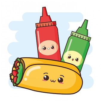 Illustration mignonne de burrito et de sauces kawaii fast food