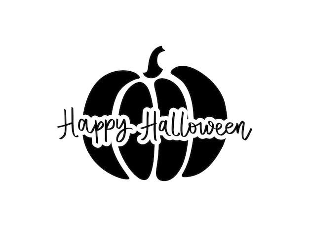 Illustration mignonne de citrouille de vecteur d'halloween. symbole d'automne de dessin animé isolé sur fond blanc. happy halloween hand drawn lettrage expression.