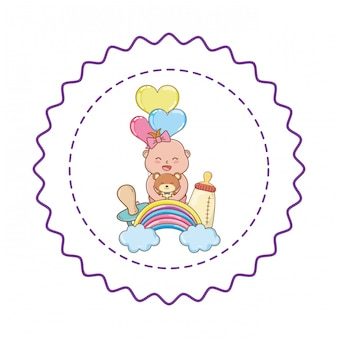 Illustration mignonne de douche de bébé